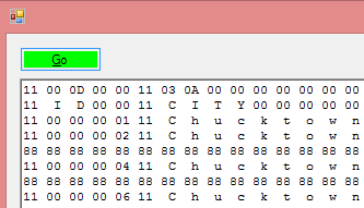 Hex view of SqlDbSharp database file